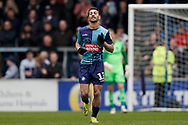 Goal, Scott Kashket of Wycombe Wanderers scores, Wycombe Wanderers 2-3 Portsmouth during the EFL Sky Bet League 1 match between Wycombe Wanderers and Portsmouth at Adams Park, High Wycombe, England on 6 April 2019.