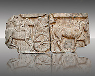 Procession of Chariot & Horsemen freeze  from the Heros Shrine of the Acropolis of Xanthos, thought to be the shrines of legendary warriors of the trojan wars built by King Kuprlli (480 - 440 B.C). Xanthos was under Persian rule at the time & the freeze has the static style of persian sculpture with a Greek style.  From Xanthos, UNESCO World Heritage site, south west Turkey. A British Museum exhibit GR 1848-16-20.17-19 (sculptures B311-313). .<br /> <br /> If you prefer to buy from our ALAMY PHOTO LIBRARY  Collection visit : https://www.alamy.com/portfolio/paul-williams-funkystock/lycian-antiquities.html (TIP - Refine search by adding a suject or background colour as well).<br /> <br /> Visit our CLASSICAL WORLD HISTORIC SITES PHOTO COLLECTIONS for more photos to download or buy as wall art prints https://funkystock.photoshelter.com/gallery-collection/Classical-Era-Historic-Sites-Archaeological-Sites-Pictures-Images/C0000g4bSGiDL9rw