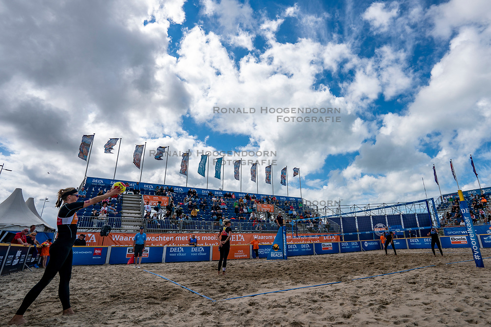 Centercourt with Madelein Meppelink in action. The Final Day of the DELA NK Beach volleyball for men and women will be played in The Hague Beach Stadium on the beach of Scheveningen on 23 July 2020 in Zaandam.