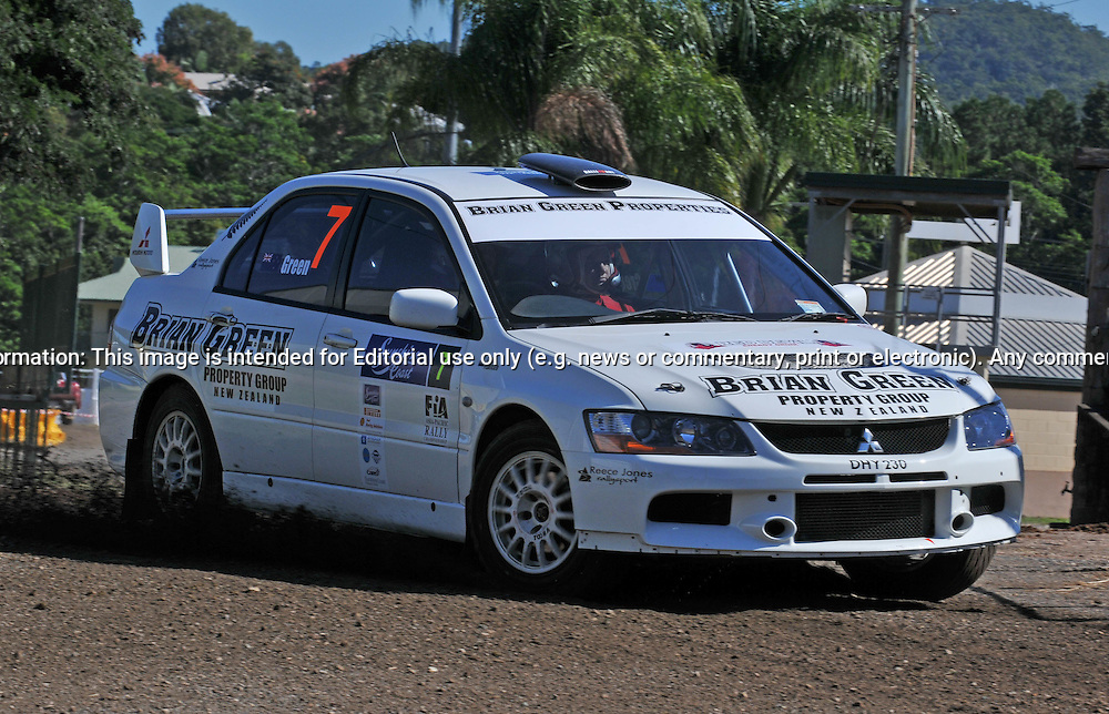 Brian GREEN (NZ) & Fleur PEDERSEN (NZ) - Mitsubishi Lancer Evo 9.Media Day/Shakedown.Red Devil Energy Drink Rally of Queensland.Nambour Showgrounds, Nambour, Sunshine Coast, Qld.8th of May 2009.(C) Joel Strickland Photographics.Use information: This image is intended for Editorial use only (e.g. news or commentary, print or electronic). Any commercial or promotional use requires additional clearance.
