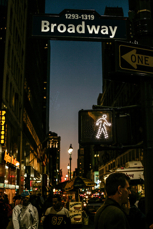 Broadway avenue night scene.