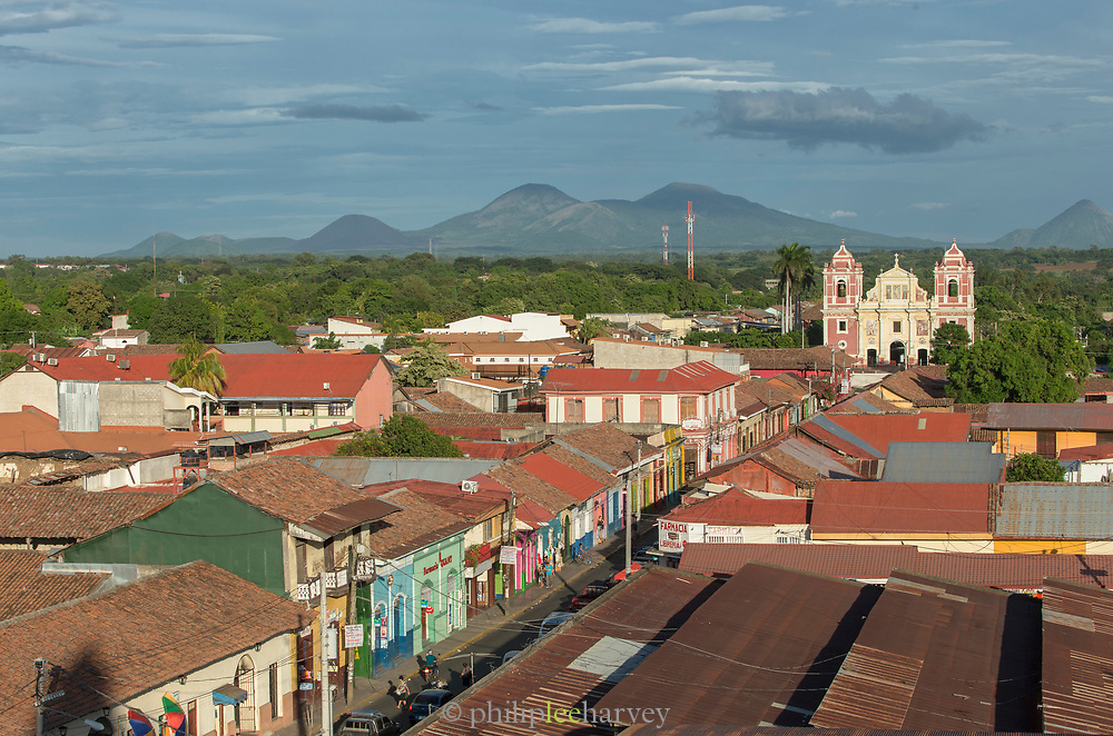 Aerial view of the roofs of houses in the city of Leon, Nicaragua