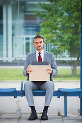Depressed man suit unemployed fired sacked jobless