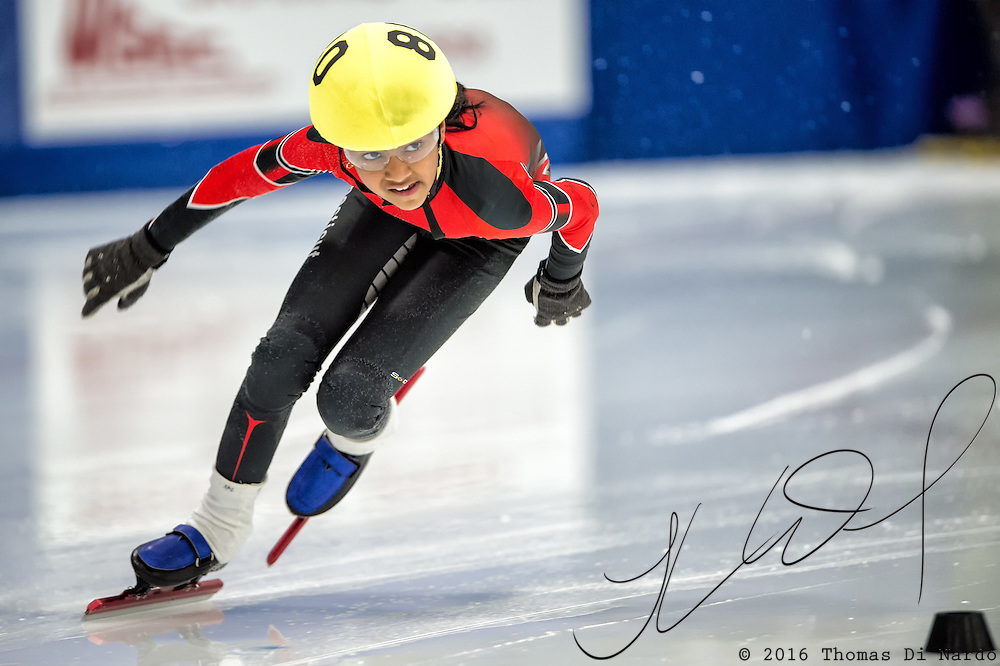 March 19, 2016 - Verona, WI - Salome Lokesh, skater number 80 competes in US Speedskating Short Track Age Group Nationals and AmCup Final held at the Verona Ice Arena.
