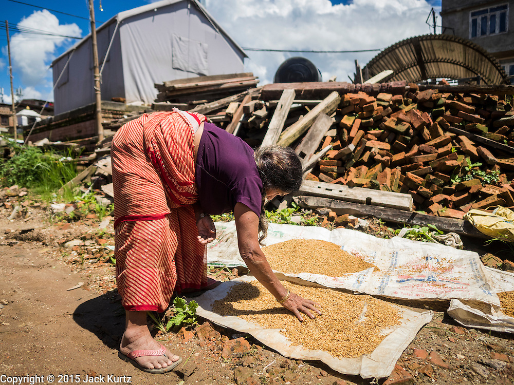 03 AUGUST 2015 - SANKHU, NEPAL:  A woman whose home was destroyed by the earthquake dries rice in front of the rubble of her home in Sankhu, a community about 90 minutes from central Kathmandu. The Nepal Earthquake on April 25, 2015, (also known as the Gorkha earthquake) killed more than 9,000 people and injured more than 23,000. It had a magnitude of 7.8. The epicenter was east of the district of Lamjung, and its hypocenter was at a depth of approximately 15km (9.3mi). It was the worst natural disaster to strike Nepal since the 1934 Nepal–Bihar earthquake. The earthquake triggered an avalanche on Mount Everest, killing at least 19. The earthquake also set off an avalanche in the Langtang valley, where 250 people were reported missing. Hundreds of thousands of people were made homeless with entire villages flattened across many districts of the country. Centuries-old buildings were destroyed at UNESCO World Heritage sites in the Kathmandu Valley, including some at the Kathmandu Durbar Square, the Patan Durbar Squar, the Bhaktapur Durbar Square, the Changu Narayan Temple and the Swayambhunath Stupa. Geophysicists and other experts had warned for decades that Nepal was vulnerable to a deadly earthquake, particularly because of its geology, urbanization, and architecture.    PHOTO BY JACK KURTZ