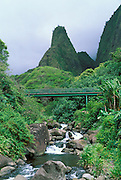 Iao Needle and bridge over the Iao Stream, Iao Valley, Maui, Hawaii