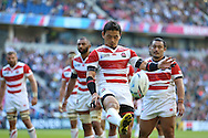 Japan's Full Back Ayumu Goromaru kicks into touch during the Rugby World Cup Pool B match between South Africa and Japan at the Community Stadium, Brighton and Hove, England on 19 September 2015. Photo by Phil Duncan.