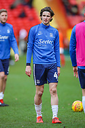 Southend United defender Sam Hart (42) warms up prior to the EFL Sky Bet League 1 match between Charlton Athletic and Southend United at The Valley, London, England on 9 February 2019.