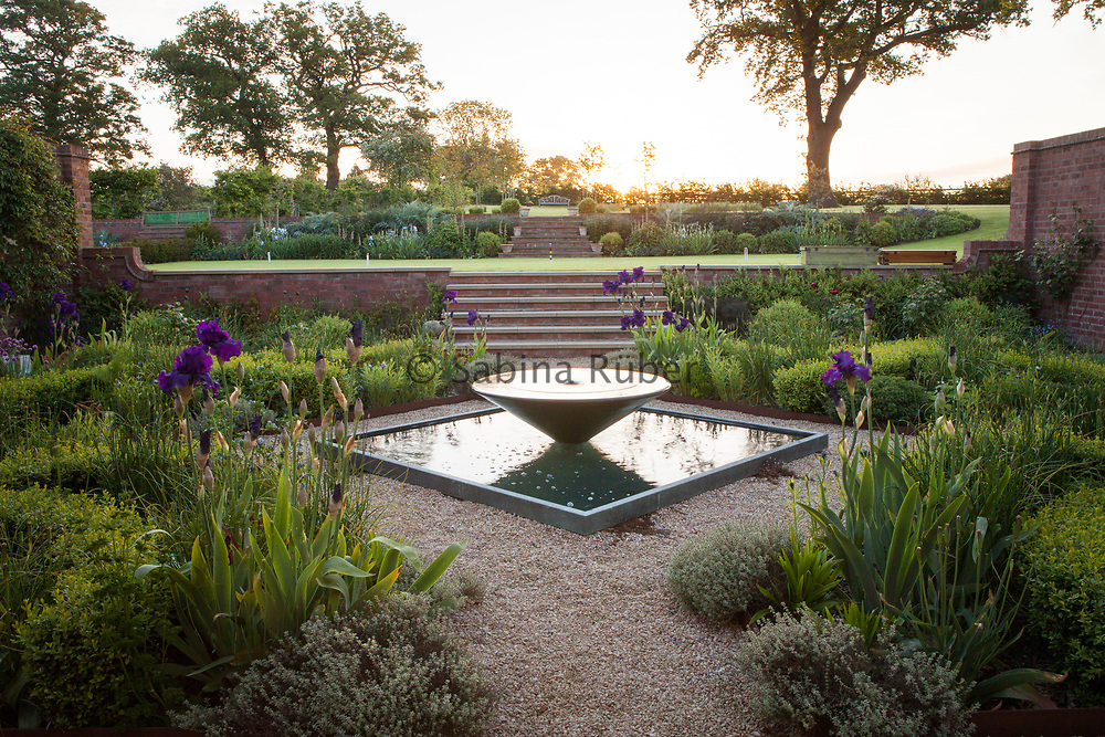 Kitchen Garden, Vortex and Pool by Giles Rayner, Manor Farm, Cheshire, U.K.