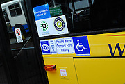 Signs on a Sydney bus. Sydney, Australia