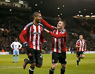 Leon Clarke of Sheffield Utd celebrates scoring the first goal with John Fleck of Sheffield Utd during the English League One match at Bramall Lane Stadium, Sheffield. Picture date: April 5th 2017. Pic credit should read: Simon Bellis/Sportimage