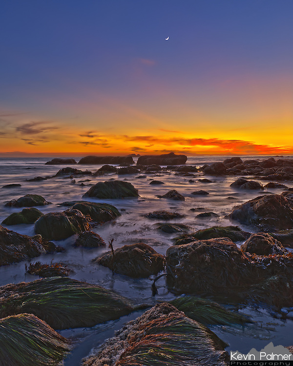 The crescent moon shines through the colors of sunset over the Pacific Ocean. The seaweed was rising and falling with the waves as they splashed around the rocks. This was taken in Dana Point, California.<br /> <br /> Date Taken: 12/27/11