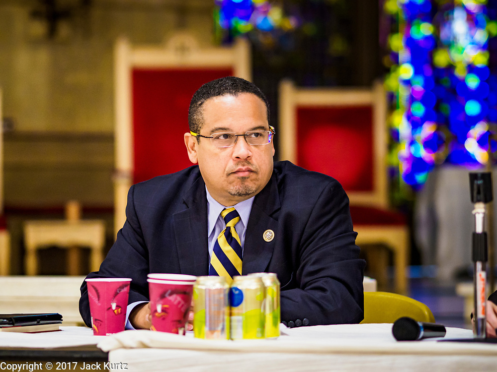 """18 APRIL 2017 - MINNEAPOLIS, MN: Rep. KEITH ELLISON, D-MN 5th District, hosts a """"Town Hall"""" style community meeting related to immigration at Incarnation Catholic Church in Minneapolis, MN. About 200 people attended the meeting.     PHOTO BY JACK KURTZ"""