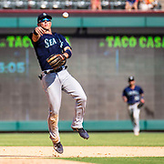 Aug 01 2019, Arlington, TX  U.S.A. Seattle shortstop Dylan Moore (25)makes an infield play during the MLB game between the Seattle Mariners and the Texas Rangers 11-3 win at Globe Life Park in Arlington,TX. Thurman James / CSM