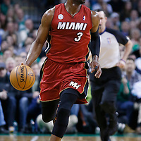 18 March 2013: Miami Heat shooting guard Dwyane Wade (3) brings the ball upcourt during the Miami Heat 105-103 victory over the Boston Celtics at the TD Garden, Boston, Massachusetts, USA.