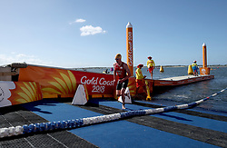 England's Alistair Brownlee exits the water during the Mixed Team Relay Triathlon final at the Southport Broadwater Parklands during day three of the 2018 Commonwealth Games in the Gold Coast, Australia.