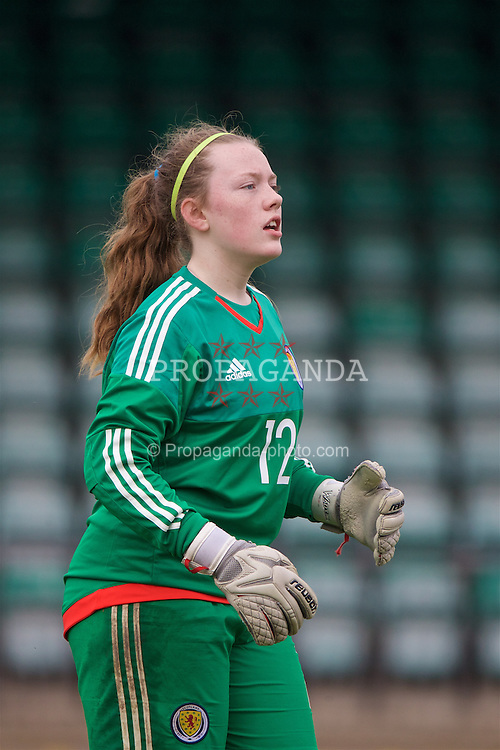 NEWPORT, WALES - Monday, April 4, 2016: Scotland's goalkeeper Ciara Pollock in action against Wales during Day 4 of the Bob Docherty International Tournament 2016 match at Newport Stadium. (Pic by David Rawcliffe/Propaganda)