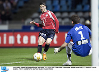 FOOTBALL - FRENCH CHAMPIONSHIP 2007/2008 - L1 - LILLE OSC v SM CAEN - 15/03/2008 - KEVIN MIRALLAS (LIL) / BENOIT COSTIL (CAEN) - PHOTO CHRISTOPHE DUPONT ELISE / FLASH PRESS