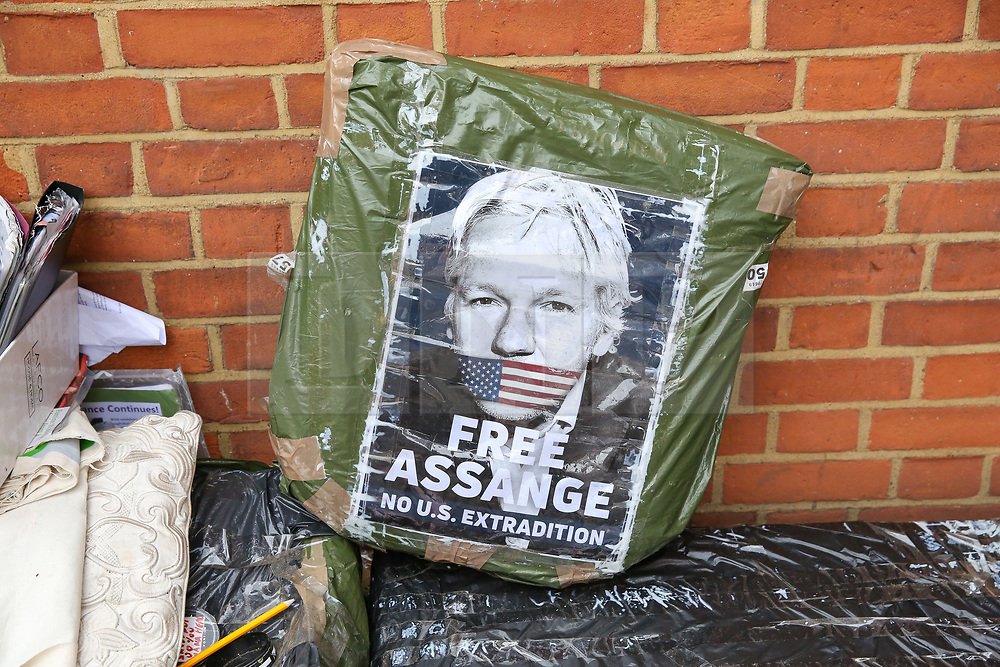 © Licensed to London News Pictures. 05/04/2019. London, UK. A poster on a bag of Julian Assange at Ecuadorean Embassy in London. Media reports state that the Ecuadorian Embassy plan to remove Julian Assange, Wikileaks founder from the embassy within days. Julian Assange claimed political asylum in the Ecuadorean Embassy in June 2012 after he was accused of rape and sexual assault against women in Sweden. Photo credit: Dinendra Haria/LNP
