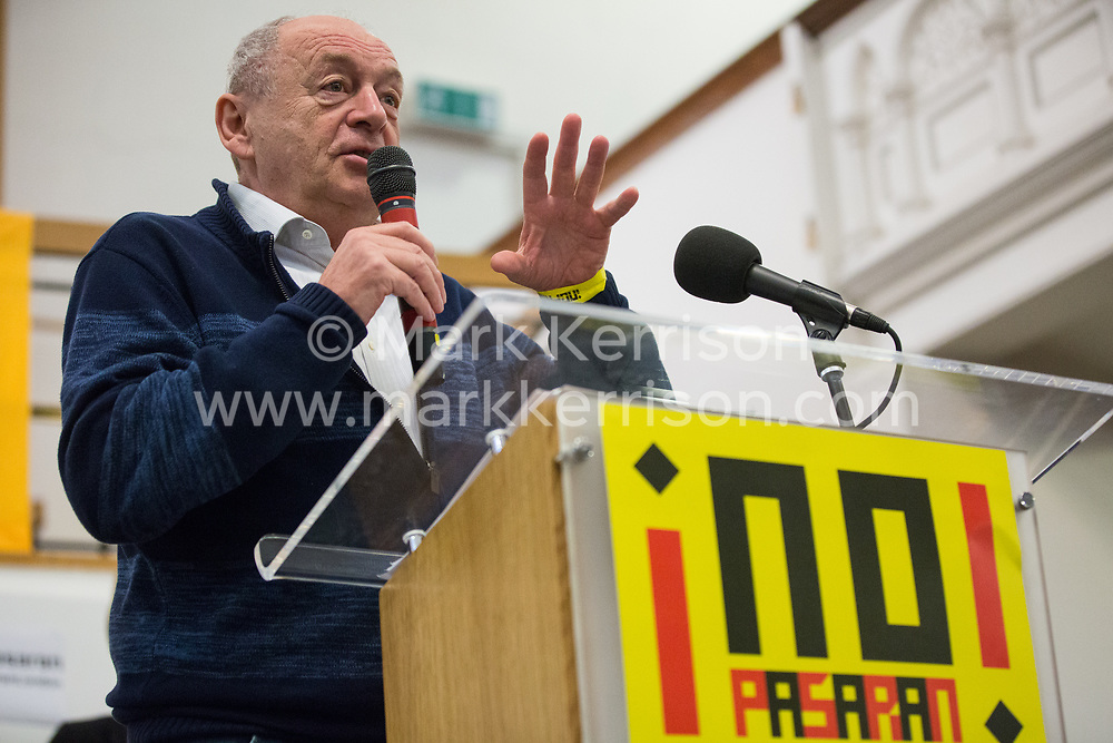 London, UK. 2nd March, 2019. Tamás Krausz, well-known Hungarian radical intellectual and editor of Marxist journal Eszmélet, addresses the ¡No Pasaran! Confronting the Rise of the Far-Right conference at Bloomsbury Central.