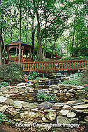 65021-030.14 Shade garden with pond, waterfall, hostas, ferns, bridge, gazebo, St. Louis,  MO