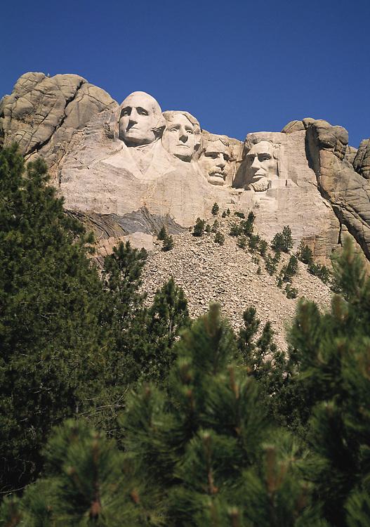 The famous Borglum sculpture of four presidents in the Black Hills of South Dakota