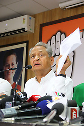 May 1, 2019 - Jaipur, Rajasthan, India - Rajasthan Chief Minister Ashok Gehlot addressing the media person during the press conference at PCC office in Jaipur,Rajasthan,India on Wednesday, May 01,2019.(Photo By Vishal Bhatnagar/NurPhoto) (Credit Image: © Vishal Bhatnagar/NurPhoto via ZUMA Press)