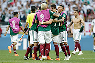 Mexico players celebrate at the end of the 2018 FIFA World Cup Russia, Group F football match between Germany and Mexico on June 17, 2018 at Luzhniki Stadium in Moscow, Russia - Photo Thiago Bernardes / FramePhoto / ProSportsImages / DPPI