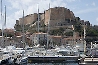 Bonifacio port with Haute ville behind <br /> France: Corsica, Bonifacio (most southerly town in Corsica and port for the Lavezzi Islands, which lie 10 km South East)