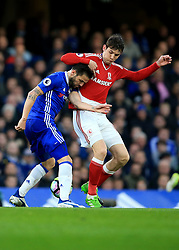 8 May 2017 - Premier League - Chelsea v Middlesbrough - Marten de Roon of Middlesbrough in action with Cesc Fabregas of Chelsea - Photo: Marc Atkins / Offside.