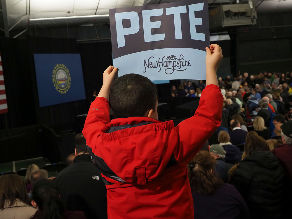 Pete Buttigieg supporters gather for the Get Out the Vote rally in Milford, New Hampshire. This is his second to last campaign rally prior to the Tuesday, February 11 primary