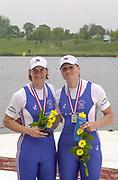 Poznan, POLAND.   2004 FISA World Cup, Malta Lake Course.  <br /> <br /> GBR W2- Left Katherine Grainer and Cath Bishop Silver Medal<br /> <br /> 09.05.2004<br /> <br /> [Mandatory Credit:Peter SPURRIER/Intersport Images]