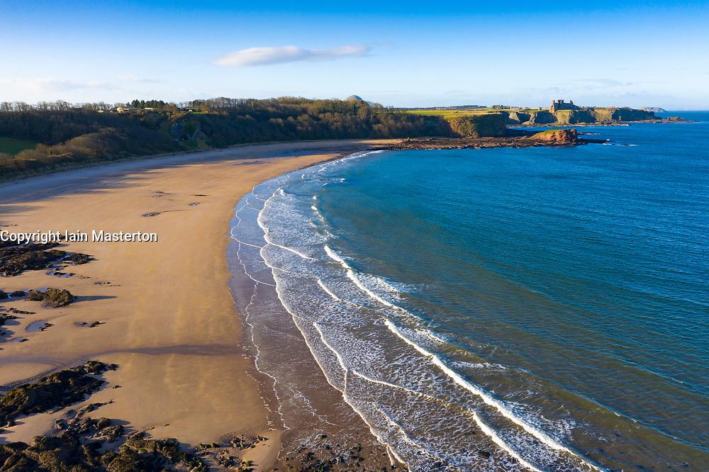 Aerial view of Seacliff Beach in East Lothian, Scotland, UK