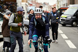 Lizzy Banks (GBR) makes her way to the start line at the 2020 Omloop Het Nieuwsblad - Elite Women, a 122.9 km road race from Gent to Ninove, Belgium on February 29, 2020. Photo by Sean Robinson/velofocus.com