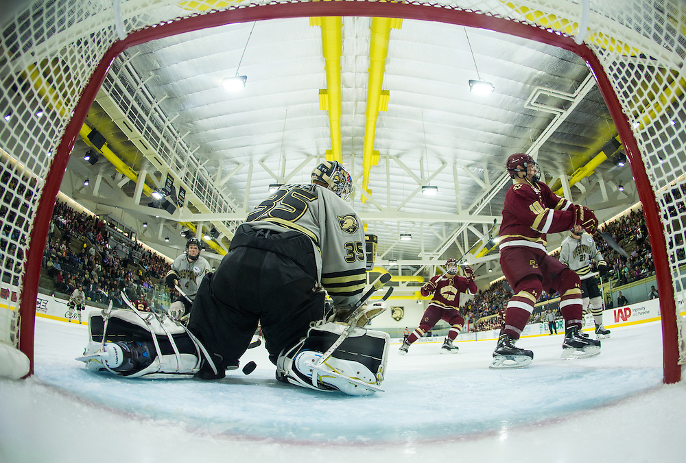 Boston College Forward Chris Brown (10) celebrates after firing a shot past Army Goaltender Parker Gahagen (35) during the third period of a NCAA hockey game between Army and Boston College at Tate Rink on October 9, 2015 in West Point, New York. (Dustin Satloff)
