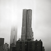 "shot of newly completed New York by Gehry at 8 Spruce Street by architect Frank Gehry from the series ""Down with the Ship"""
