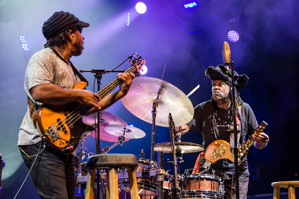 "3 August 2017 – Brooklyn, NY. Singer Nellie McKay opened for Béla Fleck and the Flecktones to a large crowd at the BRIC Celebrate Brooklyn! Festival at the Prospect Park Bandshell. The Flecktones' bassist Victor Wooten and his brother, percussionist Roy ""Future Man"" Wooten."