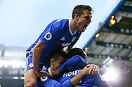 GOAL/CELE  : Eden Hazard of Chelsea © celebrates after scoring his sides 3rd goal with Cesar Azpilicueta of Chelsea jumping above him. Premier league match, Chelsea v Manchester Utd at Stamford Bridge in London on Sunday 23rd October 2016.<br /> pic by John Patrick Fletcher, Andrew Orchard sports photography.