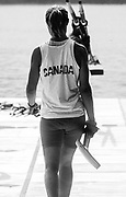 Barcelona, SPAIN.  CAN W2X,  stroke, Katherine HEDDLE aCarries her blade to the boating area. 1992 Olympic Rowing Regatta Lake Banyoles, Catalonia [Mandatory Credit, © Peter Spurrier/ Intersport Images]