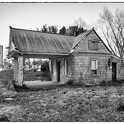 Although there are no signs of the old gas pumps this had to be a gas station.  What else could it have been?