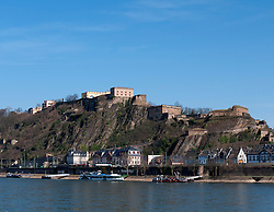 Fortress Ehrenbreitstein high above Rhine river in Koblenz Germany