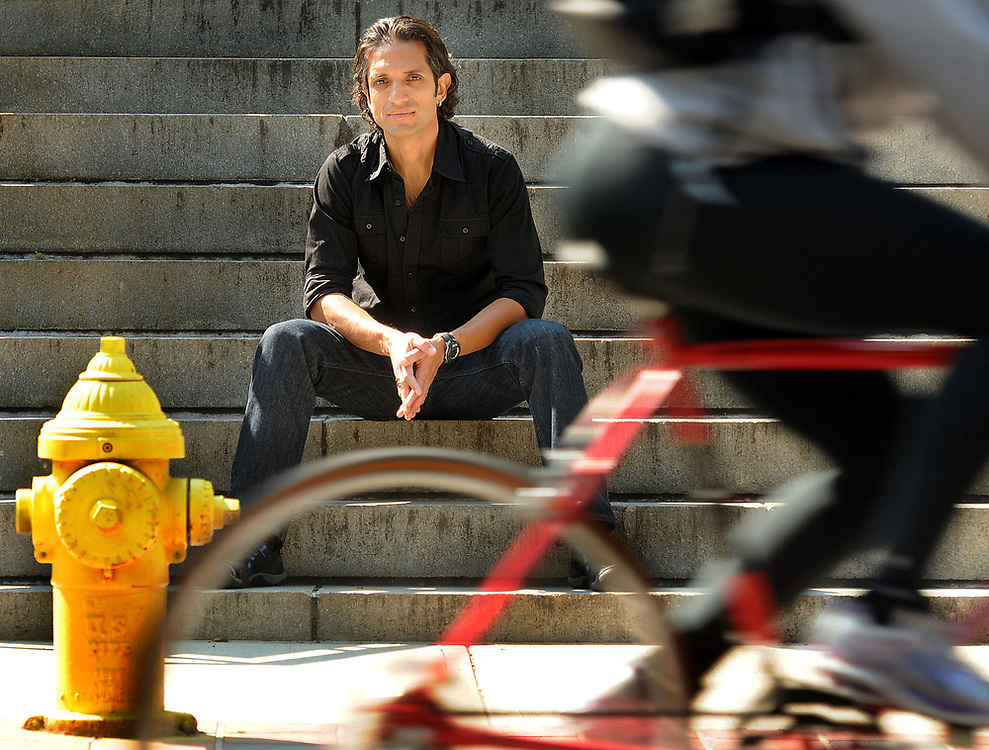 """The actor Felipe Millan will be starring in the Yale Rep opener """"American Night: The Ballad of Juan Jose"""" photographed outside the Yale School of Art. Mara Lavitt/New Haven Register<br /> <br /> 9/12/12"""