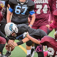 Gallup Middle School Mustang Kory Padovich (14) attempts to dive into the end zone as he's brought down by the Tohatchi Middle School Cougars defense Wednesday at Public School Stadium in Gallup.