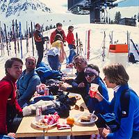Outdoor dining at Arapahoe Basin Ski Area, Colorado.1986