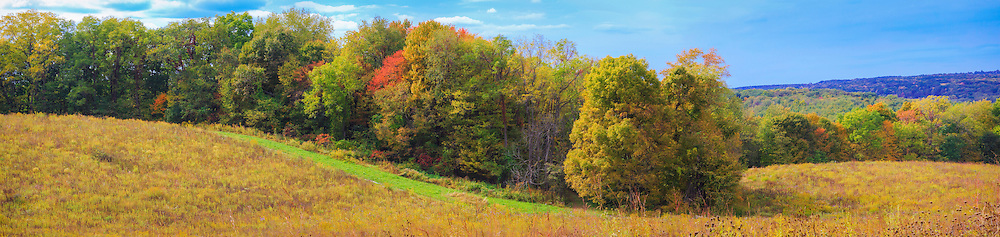 Panoramic view of tallgrass prairie and surrounding landscape of rolling hills in early autumn.