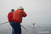 researcher Joy Hampp (right) and intern Johanna Anderson take photoidentification pictures of a humpback whale, Megaptera novaeangliae, from the New England Aquarium research vessel Nereid in the Grand Manan Basin, Bay of Fundy, Canada ( North Atlantic Ocean )