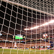 EAST RUTHERFORD, NEW JERSEY - JUNE 17: Sebastian Perez #13 of Colombia scores from the penalty spot beating goalkeeper Pedro Gallese #1 of Peru in the penalty shoot out won by Colombia during the Colombia Vs Peru Quarterfinal match of the Copa America Centenario USA 2016 Tournament at MetLife Stadium on June 17, 2016 in East Rutherford, New Jersey. (Photo by Tim Clayton/Corbis via Getty Images)