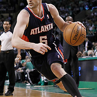 10 May 2012: Atlanta Hawks guard Kirk Hinrich (6) dribbles during the Boston Celtics 83-80 victory over the Atlanta Hawks, in Game 6 of the Eastern Conference first-round playoff series, at the TD Banknorth Garden, Boston, Massachusetts, USA.
