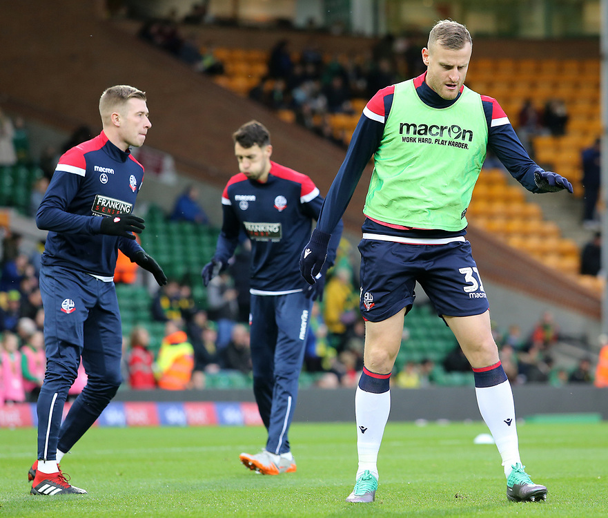 Bolton Wanderers' David Wheater during the pre-match warm-up <br /> <br /> Photographer David Shipman/CameraSport<br /> <br /> The EFL Sky Bet Championship - Norwich City v Bolton Wanderers - Saturday 8th December 2018 - Carrow Road - Norwich<br /> <br /> World Copyright © 2018 CameraSport. All rights reserved. 43 Linden Ave. Countesthorpe. Leicester. England. LE8 5PG - Tel: +44 (0) 116 277 4147 - admin@camerasport.com - www.camerasport.com