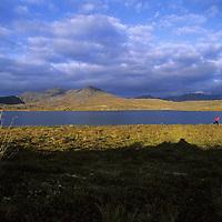 Jill Matlock (MR) runs in tundra by remote lake, Logan Mountains,Yukon Territory, Canada